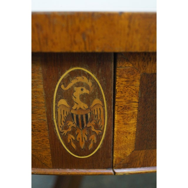 Mahogany Inlaid Leather Top Round Federal Style Coffee Table - Image 7 of 10