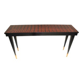 1940s French Art Deco Macassar Ebony Diamond Mother of Pearl Console Table For Sale