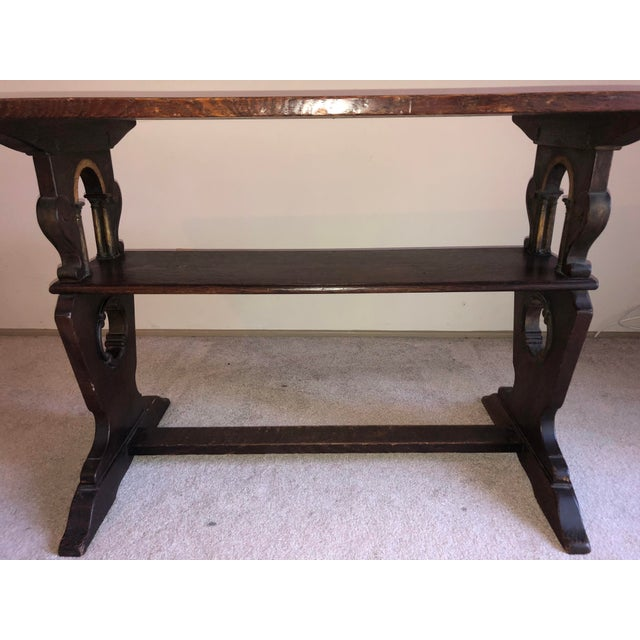 Oak 1900s American Classic Solid Oak Library Table For Sale - Image 7 of 9