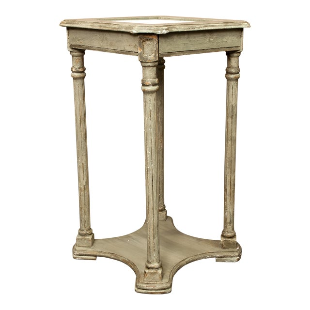 French 2-Tier Painted Wood & Caned Side Table For Sale