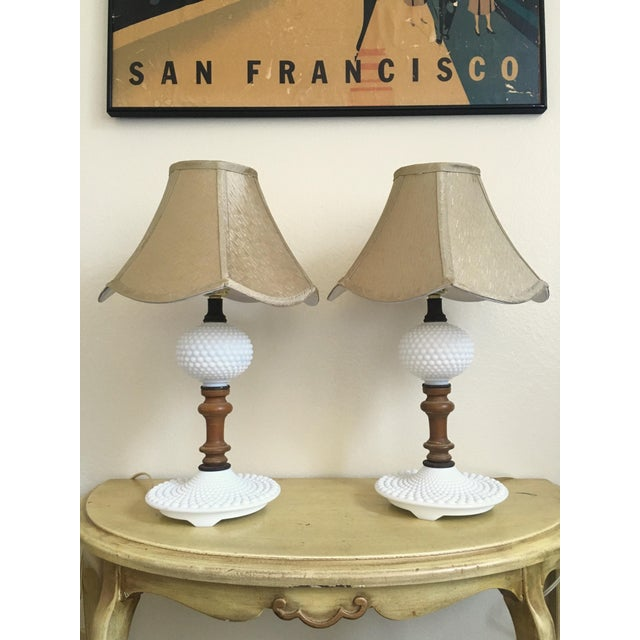 Classic hobnail milk glass, combined with beautiful wooden accents to bring them right up to trend! Perfect, working...