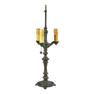 Antique Gothic Style Three Arm Cast Iron & Brass Table Lamp For Sale