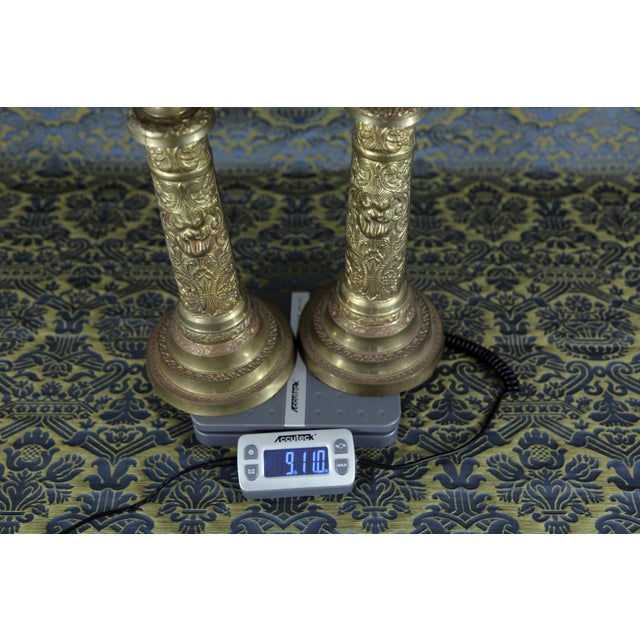 Vintage Brass Cherub Candlesticks - A Pair For Sale - Image 10 of 11