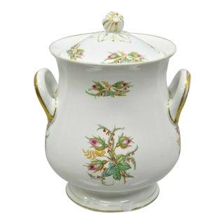 """Antique 14"""" Porcelain Lidded Double Handle Floral Chamber Pot Bowl Cachepot For Sale"""
