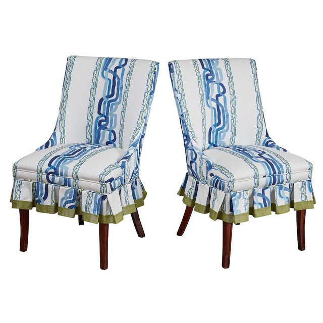 Mid-Century Modern Mid 20th Century Occasional Chairs in Ferrick Mason's Forever Blue Whiskey Stripe - a Pair For Sale - Image 3 of 9
