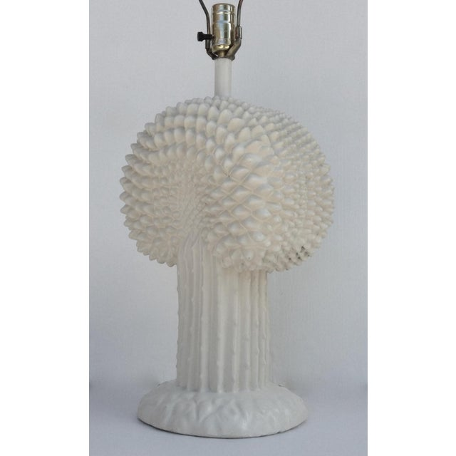 Off-white John Dickinson Plaster Palm Cactus Lamp For Sale - Image 8 of 11