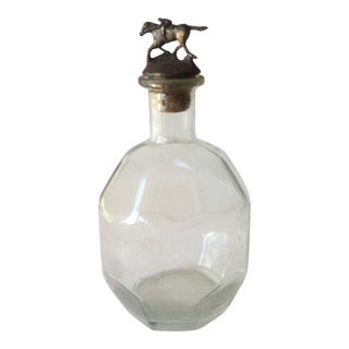 Victorian Glass Decanter With Bronze Horse Stopper