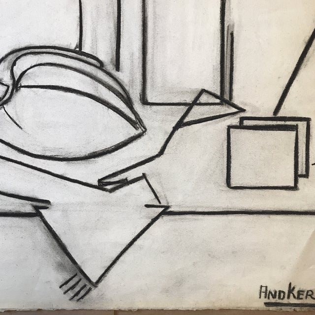 Contemporary 1930s Charcoal Cubist Still Life For Sale - Image 3 of 5