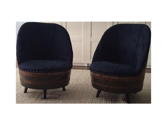 Super Swank Set Of Four Vintage Den Chairs Made From Oak Wine Barrels And  Custom Upholstered. Rustic Wine Barrel Swivel ...