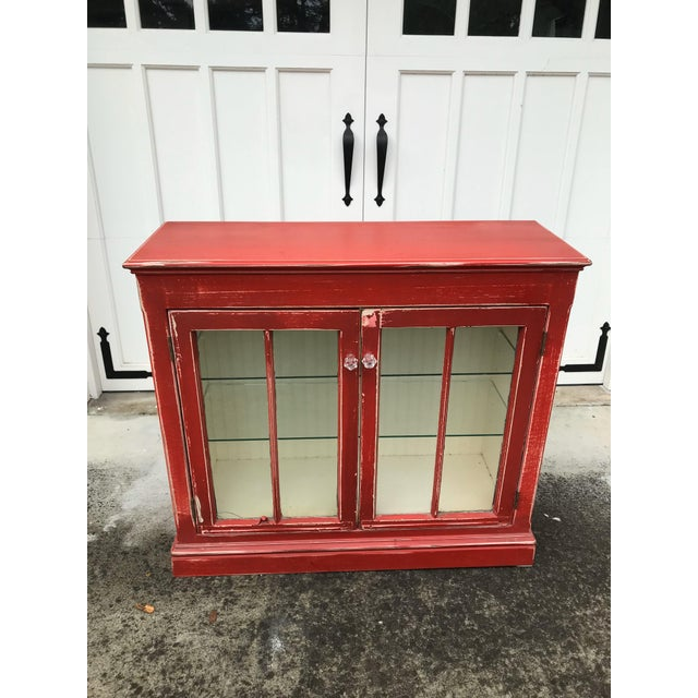 Wood Rustic Red Beadboard Interior Cabinet For Sale - Image 7 of 7