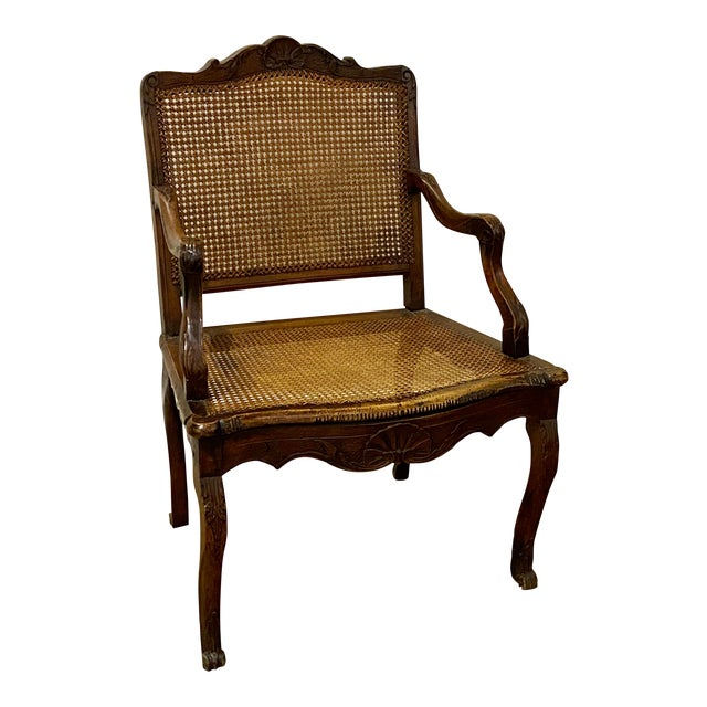 Mid 18th Century French Cane Arm Chair For Sale
