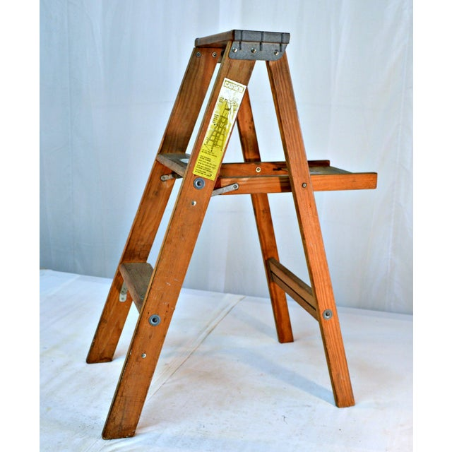 Rustic Vintage Wooden Ladder with Tool Shelf For Sale - Image 3 of 7