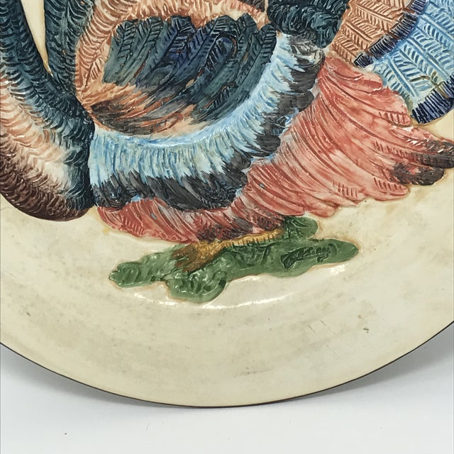 Thanksgiving Decor Spanish Traditional Hand Painted Majolica Turkey Concave Decorative Plate For Sale - Image 9 of 12
