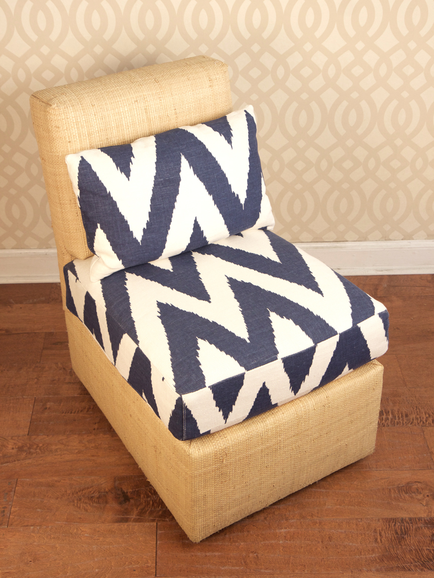 Oomph Raffia Slipper Chair In Blue U0026 White   Image 4 Of 11