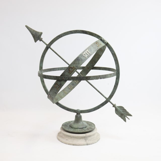 This classic armillary sundial is an immediate eye catcher in the garden. The verdi patina with bronze highlights...