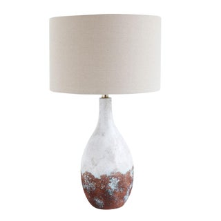 Ceramic Table Lamp With Linen Shades For Sale