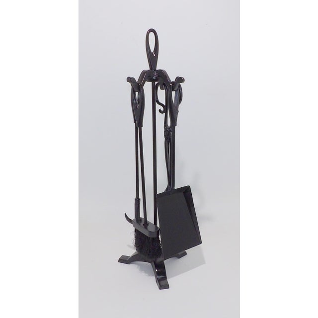 Rustic Vintage Wrought Iron Fireplace Tool Set For Sale - Image 3 of 6