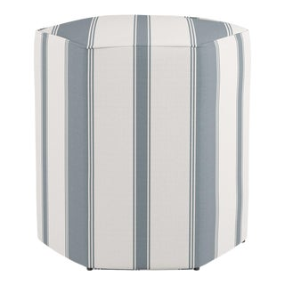 Hexagonal Ottoman in French Blue Clarence Stripe For Sale