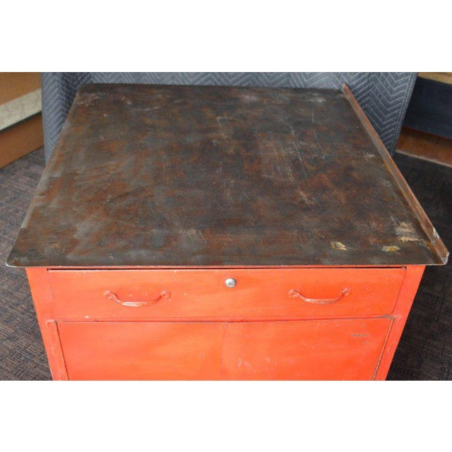 Industrial Storage Cabinet on Wheels With Steel Top as Kitchen Isle, Wait Stand, Home Bar For Sale - Image 3 of 13