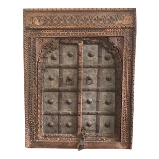 1820s Antique Middle Eastern Indian Hand Carved Window Salvaged From Fortress