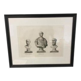 "Early 19th Century ""Gordien Pie. Gordien D'Afrique. Pupien"" Framed Engraving Print For Sale"