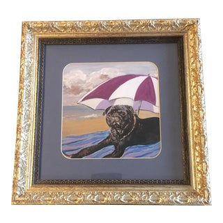 "Judy Henn ""Black Pug Beach Dog"" Print For Sale"