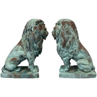A. Barye Style Monumental Bronze Lion Statues - a Pair