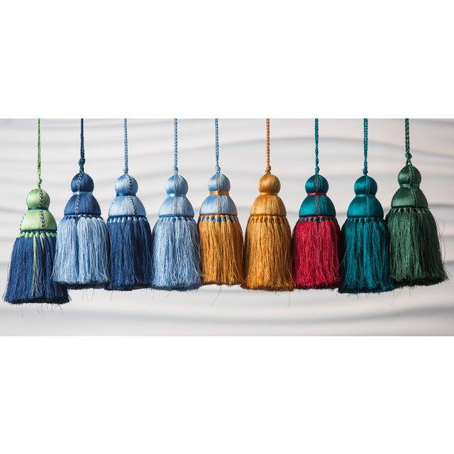 Transitional Pyar & Co. Trellis Home Tassel, Light Blue & Golden, Medium For Sale - Image 3 of 4