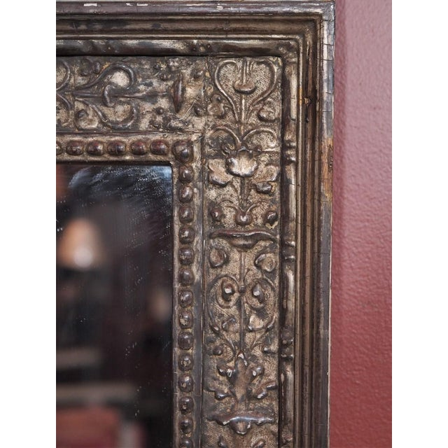 Glass Vintage Italian Silver Gilt Mirror For Sale - Image 7 of 8