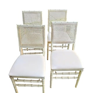 Set of Vintage Stakmore Palm Beach Regency Faux Bamboo Cane Off White Folding Chairs Set of 4