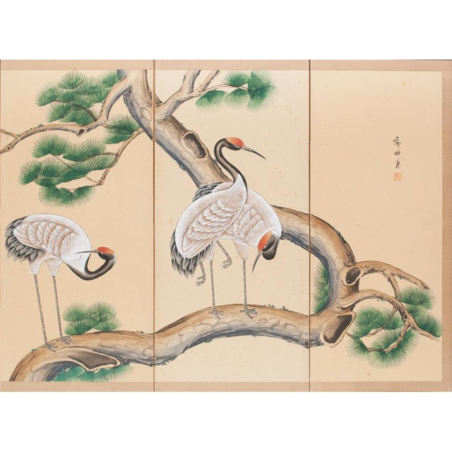Asian Late 19th - Early 20th Century Japanese Byobu Screen For Sale - Image 3 of 13