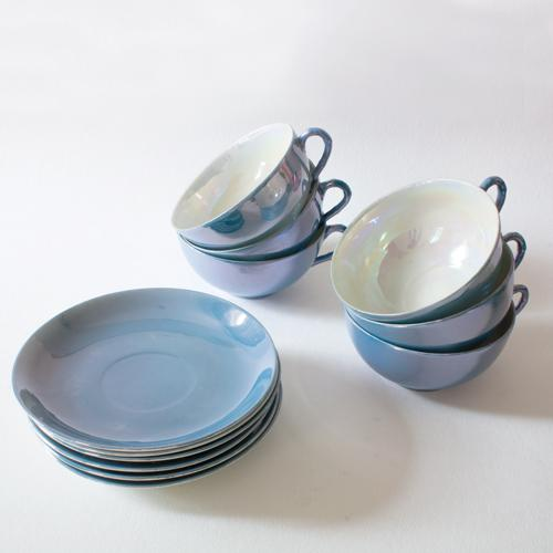 Asian Pearlescent Teacups and Saucers - Set of 6 For Sale - Image 3 of 4