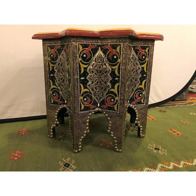 Gold Star-Shaped End Table or Footstool With Ebony Inlays For Sale - Image 8 of 9