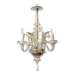 Small Gold Flecked Murano Chandelier For Sale