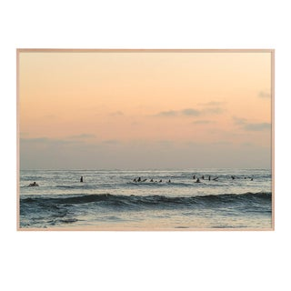 Muted Ocean With Surfer Photograph Framed in Natural Wood For Sale