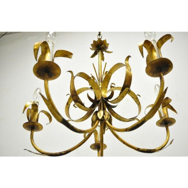 Metal Vintage Ferrocolor Italian Hollywood Regency Gold Gilt Tole Metal Chandelier For Sale - Image 7 of 11