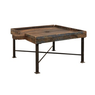 19th Century Spanish Wood Olive Trough Coffee Table With Modern Metal Base For Sale