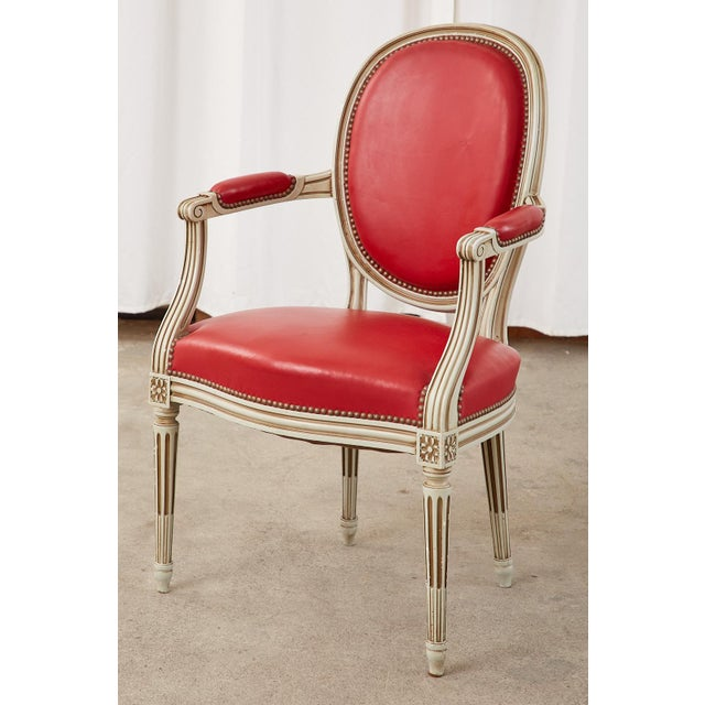 Set of Ten French Louis XVI Style Painted Dining Chairs For Sale - Image 4 of 13