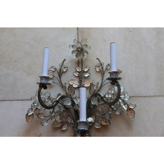 Maison Baguès C1845 Maison Bagues Museum Quality Huge Crystal Floral Sconces/ Wall Lamps-Signed in Bronze - a Pair For Sale - Image 4 of 12