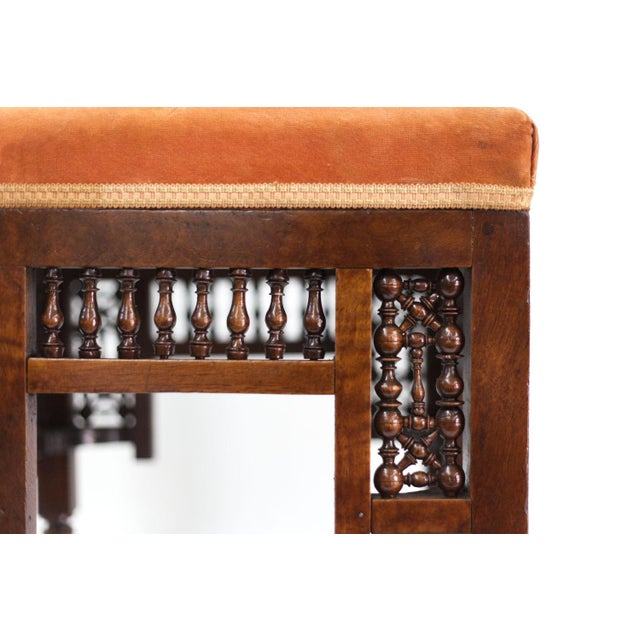 Mediterranean Stool With Deep Salmon Suede Seat - Image 4 of 6