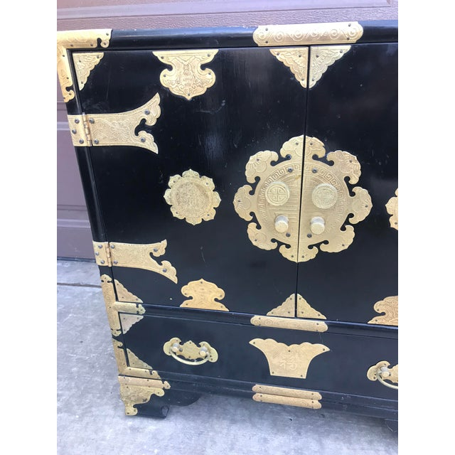 19th Century Antique Black Chinese Cabinet For Sale - Image 4 of 13