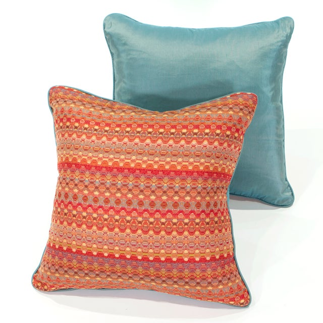 Poppy & Aqua Silk Pillows - A Pair - Image 2 of 8