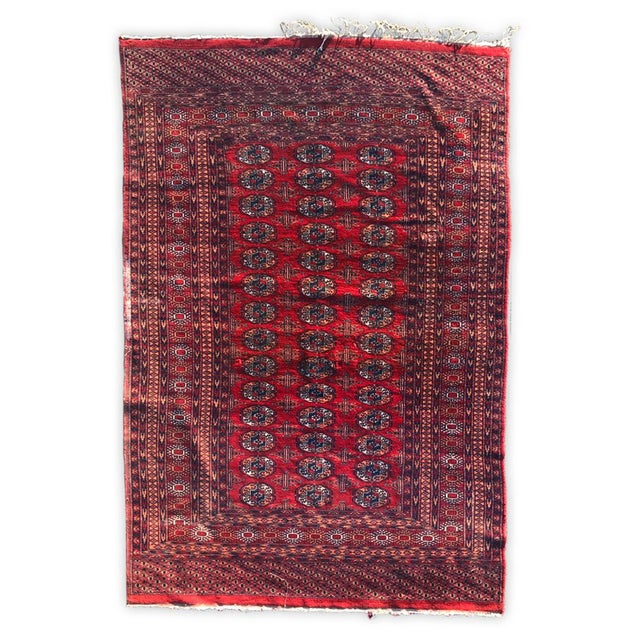 Pakistan Bokhara Rugs In Red: Antique Pak Bokhara Persian Pakistan Rug - 5' X 8'