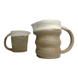 Rustic Modern Hand-Thrown Pitchers - a Pair For Sale