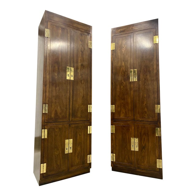Vintage Henredon Campaign Chifforobe- a Pair For Sale