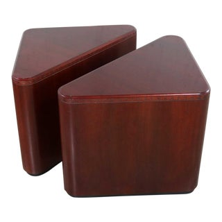 Vintage Pair of Mahogany Triangular End Tables or Pedestals For Sale