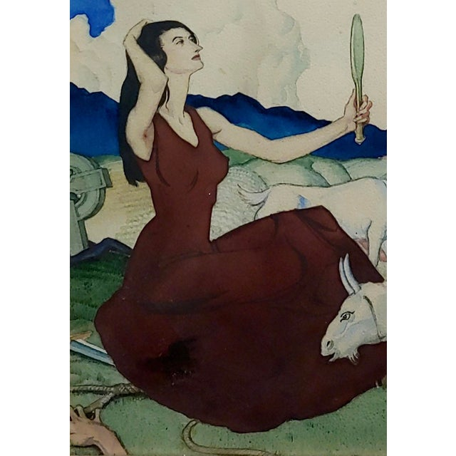 1930s Paul Julian - Pretty Woman in a Surreal Background -1930s Painting For Sale - Image 5 of 10