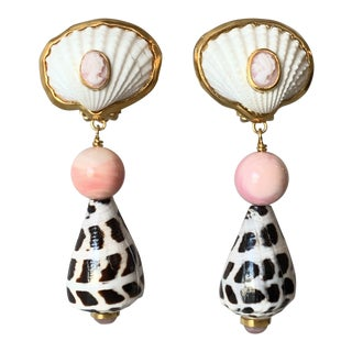 Conch Shell and Cameo Earrings For Sale