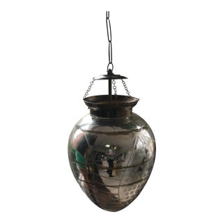 Early 20th Century Etched Silvered / Mercury Glass Pendant Light
