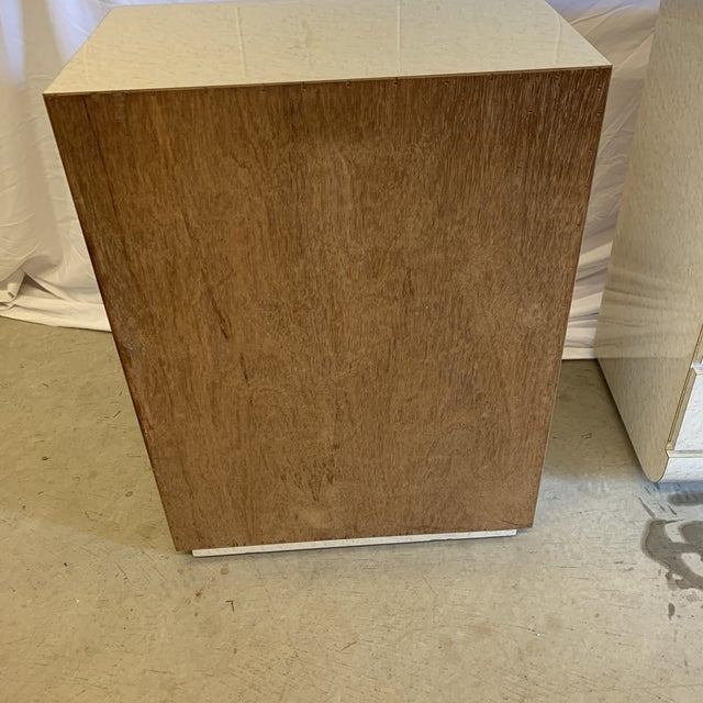 Post Modern Laminate Brass Nightstands -A Pair For Sale - Image 4 of 10